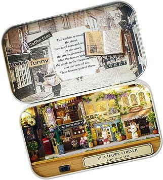 Amazon.es: DIY Mini Caja de Teatro Casa de Muñecas en Miniatura con Luz LED Regalo de Niños - Feliz Esquina de la Calle: Juguetes y juegos