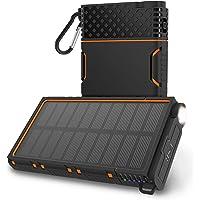 OUTXE Solar Powerbank Wasserdicht 10000mAh Solar Ladegerät Outdoor Powerbank mit Led Leuchte