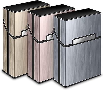 3 Piezas Portátil Caja de Cigarrillo,Cigarette Case de la aleación de Aluminio,Caja Cigarrillo con la Cerradura magnética para 20 Cigarrillos: Amazon.es: Equipaje