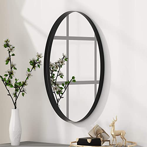 NXHOME Oval Black Bathroom Decorative Wall – Mirror Wall-Mounted Clean Decor Stainless Steel Framed Mirrors 24X36in