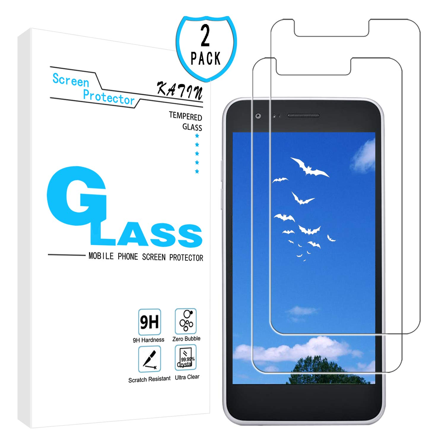 KATIN LG Rebel 4 LTE Screen Protector - [2-Pack] Tempered Glass for LG Rebel 4 LTE Screen Protector Easy to Install, Bubble Free with Lifetime Replacement Warranty