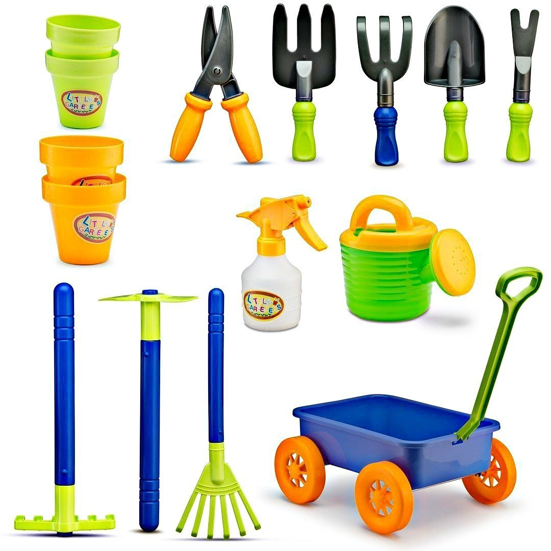 Kids Gardening Tools Set - 15 Pcs Childrens Garden Play Yard Dig Toys - Includes Little Watering Can, Shovels, Rakes, Bucket, Spray Bottle, Scissor, and 4 Plant Pots