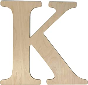 """Unfinished Wooden Letter for Wedding Guest Book Alternative or Wall Decor (24"""") (Letter K)"""