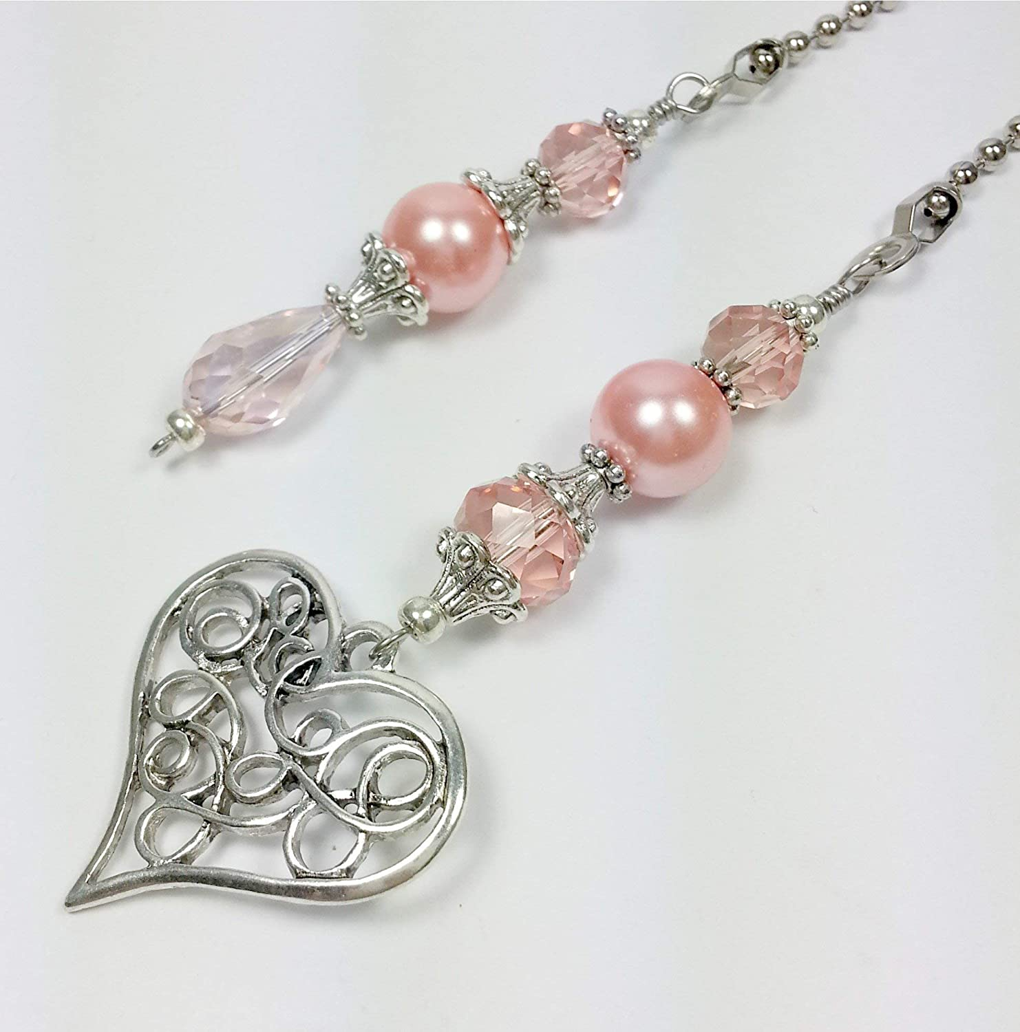 Ceiling Fan and Light Pull Set with Heart Charm - Pink