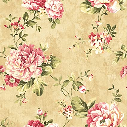HaokHome DR3075 Non Woven Vintage Flower Wallpaper Blue Home Bedroom