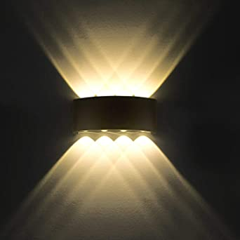 Lámpara de pared LED 8W Moderno IP65 a prueba de agua iluminación aplique de aluminio luz decorativa para la sala de estar Dormitorio Hall escalera camino (Blanco cálido): Amazon.es: Iluminación