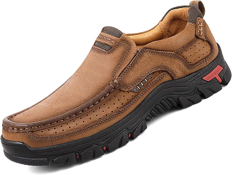 2019 Fashion Summer Shoes Cow Leather Men Sandals Mens Casual Shoes Non-Slip Rubber Soles Beach Shoes Plus Size 38~46,Khaki,9.5