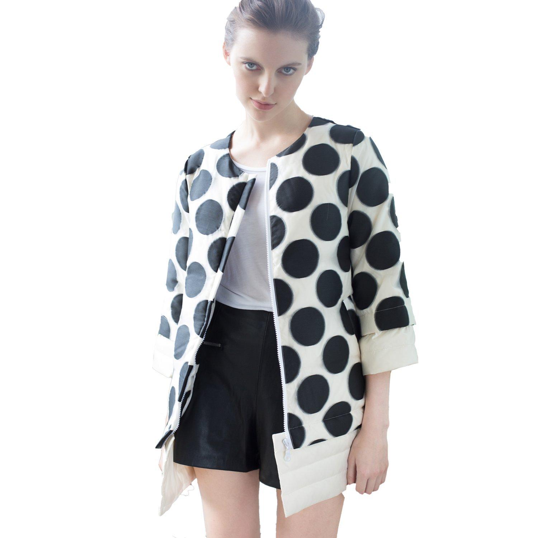 Mandy's Women's Winter Long Down Jacket Gift Coat Plus Size Thick (L, black-white)