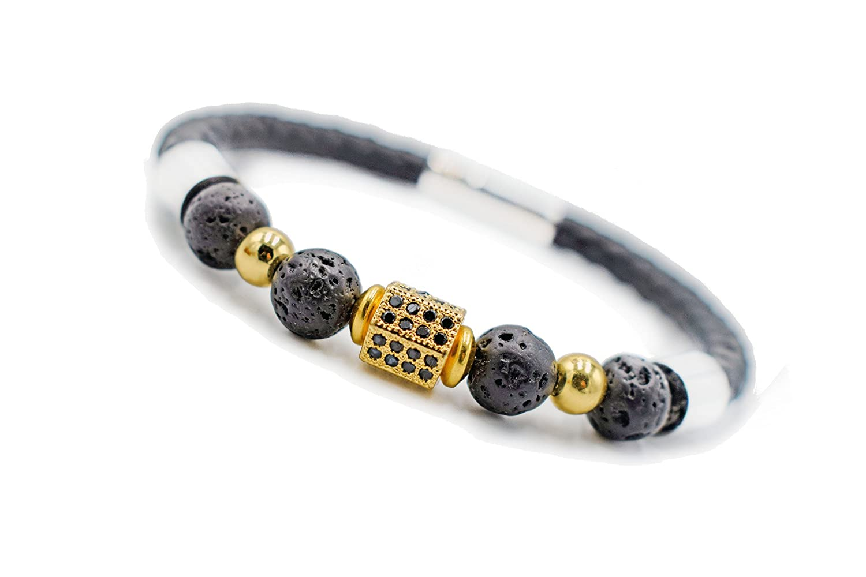 QIDISI Stainless Steel Leather Bracelet Natural Lava Stone Energy Bracelet Cubic Zirconia CZ Bracelet