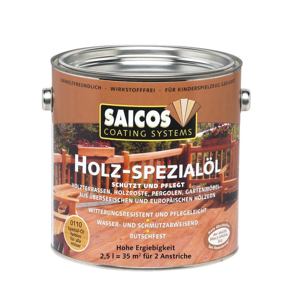 Neu 2,5L Saicos Holz Spezial Öl 0110 farblos Holzöl Terrassenöl  ZY85