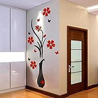 2021 nuevo ramo de rosas pegatinas de pared DIY florero árbol de flores arco de cristal 3D pegatinas de pared decoración…