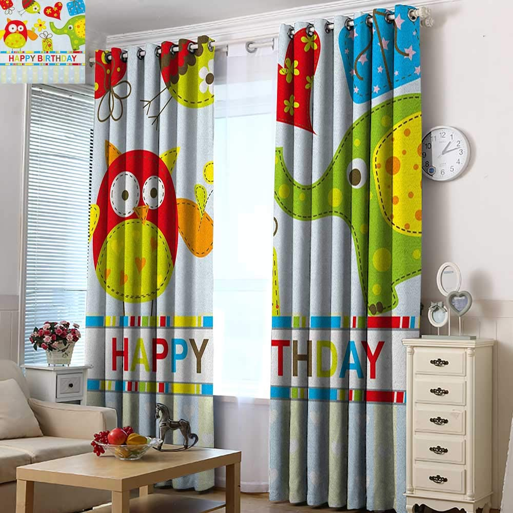 Curtains for Living Room Kids Birthday Patchwork Design with Owls Birds Hearts and Boxes Party Theme Artistic Print Room Darkening, Noise Reducing 72'' W x 84'' L Multicolor