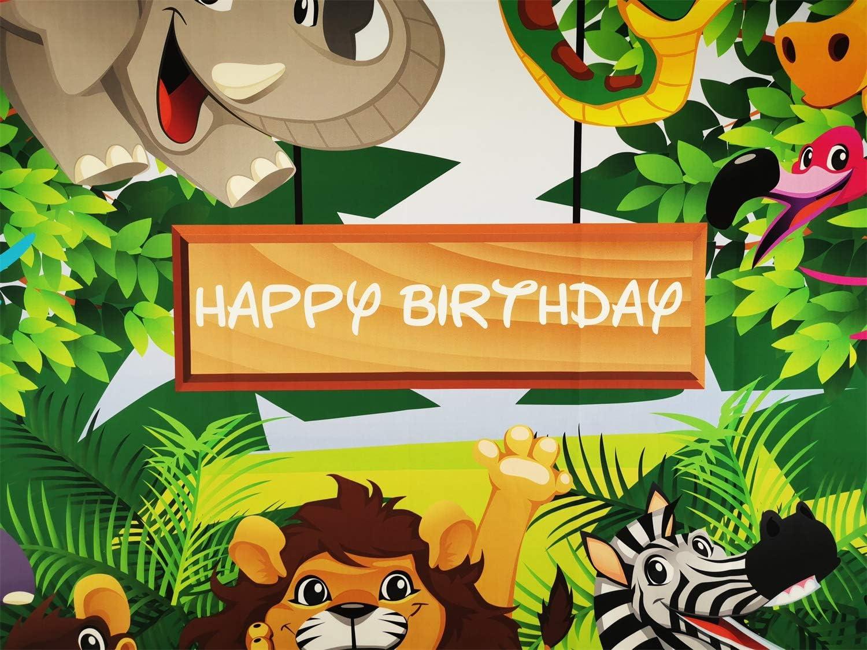 Happy Birthday Backdrop 5x3 Vinyl Childish Cartoon Zoo Animals Frame Photography Background Grinning Monkey Lion Crocodile Kids Baby Birthday Party Shoot Banner Cake Smash Wallpaper