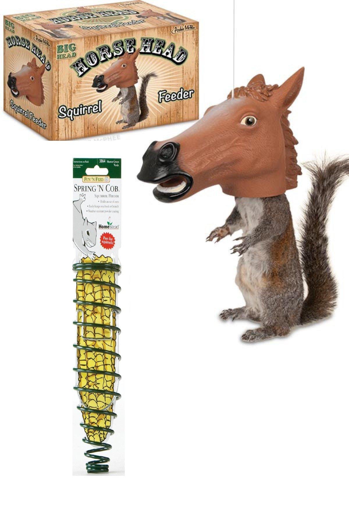 Squirrel Feeder Bundle with Horse head Squirrel feeder and Corn Cob Squirrel Feeder