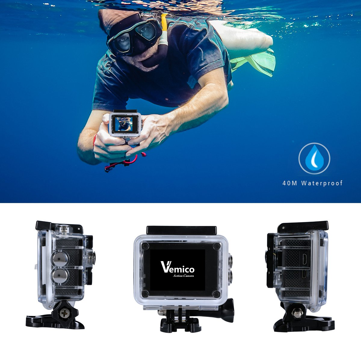 Amazon.com: Vemico Action Camera 4K WIFI Full HD 1080P Waterproof ...