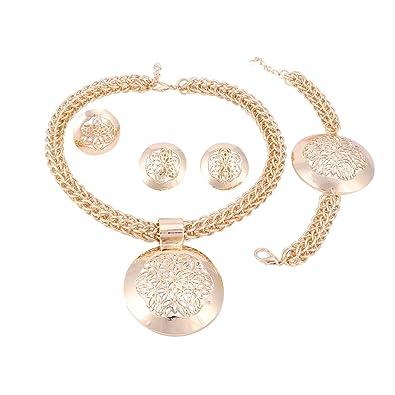 Amazon.com: Juego de joyas para mujer forma redonda ...