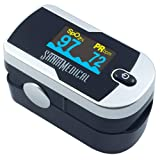 Santamedical Generation 2 Fingertip Pulse Oximeter Oximetry Blood Oxygen Saturation Monitor with Batteries and Lanyard (Silver) (Color: Silver)