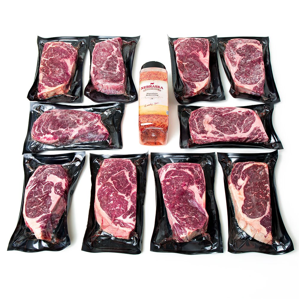 Aged Premium Angus Ribeye Steaks by Nebraska Star Beef - All Natural Hand Cut and Trimmed with Signature Seasoning - Gourmet Steak Delivery to Your Home