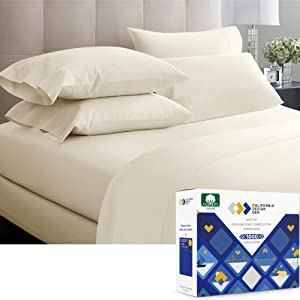 Luxury Sheets 1000 Thread Count, 100% Cotton Sheets, Very Smooth Soft & Thick with Deep Pockets, King Size Sheets Cotton 4 Pc Set (Ivory)