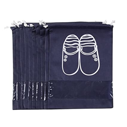 127f6e5341c5 Shoe Bags Dust-proof Drawstring with Window Nylon Travel Pack of 10  Organizer Bags for