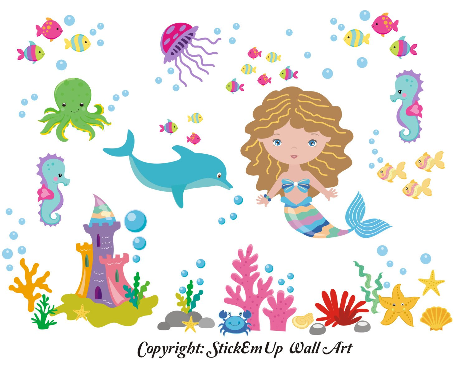 Baby Nursery Kids Children's Wall Decals: Sea Ocean Mermaids Marine Life Animals Wildlife Themed 50'' tall X 65'' wide (Inches): Repositionable Removable Reusable Wall Art: Better than vinyl wall decals: Superior Material