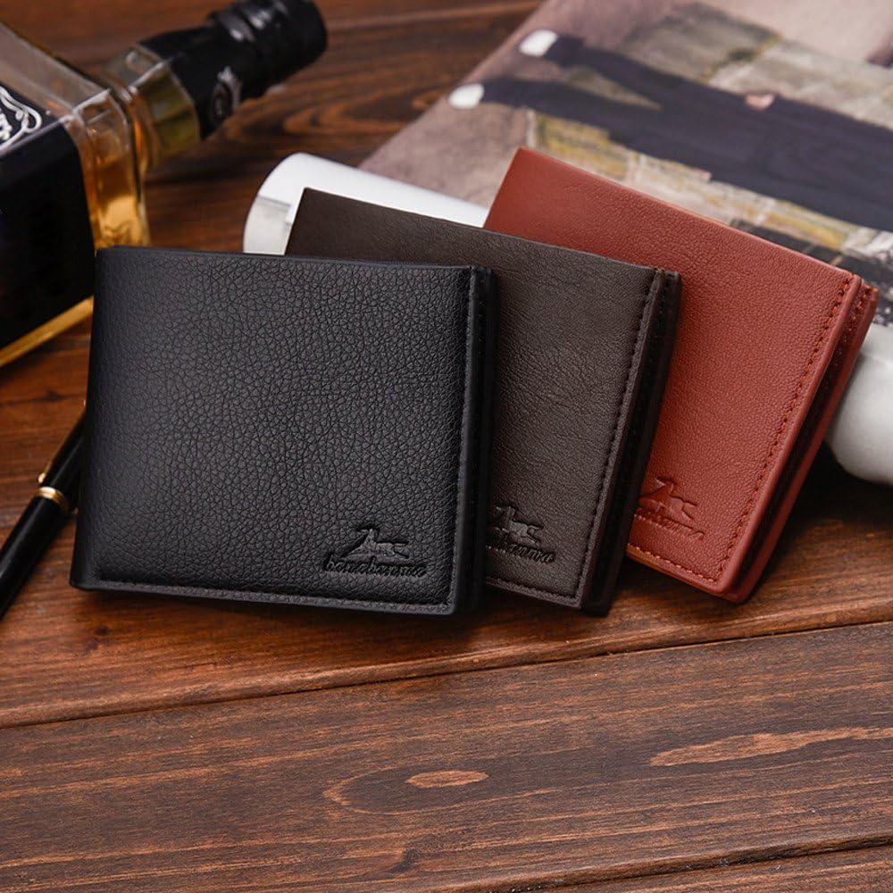 Stylish Men Solid Color Vintage Open Lichee Pattern Multi Card Position Wallet Best Front Pocket Wallet