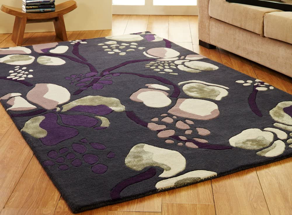 Luxury Modern Patterned Wool Rugs In Grey Pink And Purple 120 X 180cm 4 X 6 Amazon Co Uk Kitchen Home