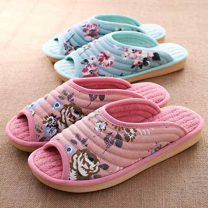 Unisex Slip-On Zapatillas antideslizante puntera abierta sandalia algodón Mulas zapatos de impresión para adultos, verde