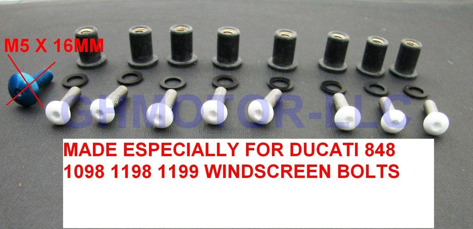 Ducati 848 1098 1198 1199 899 959 1299 SuperSport Panigale Corse V4 S R White Windscreen Windshield Bolts Screws Kit Usa