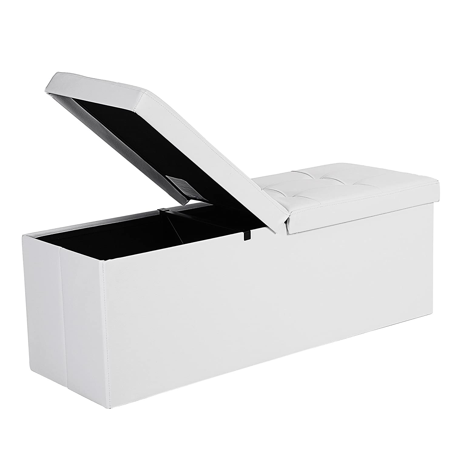 "SONGMICS 43"" L Folding Storage Ottoman Bench with Flipping Lid, Storage Chest Footrest Padded Seat with Iron Frame Support, White ULSF75WT"