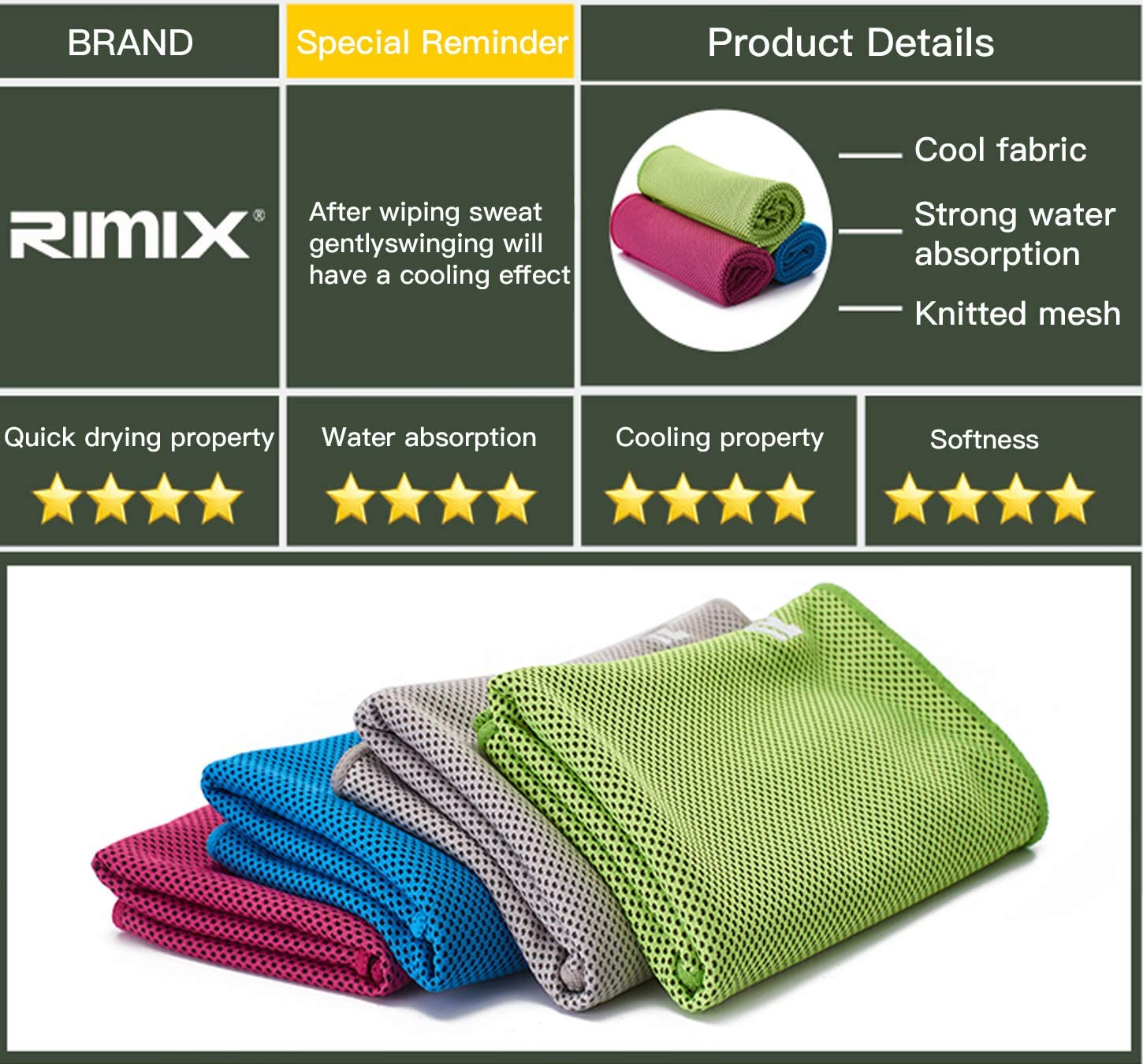 Blue//Gray ,Quick Drying,Instant Cooling Relief,Sweat-Absorbing Towel for Sports Rimix Soft Microfiber Cooling Towel 2pcs 40x12