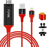 Lightning to HDMI Cable, MrLi Lightning to HDMI iPhone to HDMI Cable to TV 2m High Speed Lightning Digital AV Adapter iPhone HDMI Full HD 1080P HDTV MHL Cable Converter Adaptor Connector 6.56ft RED
