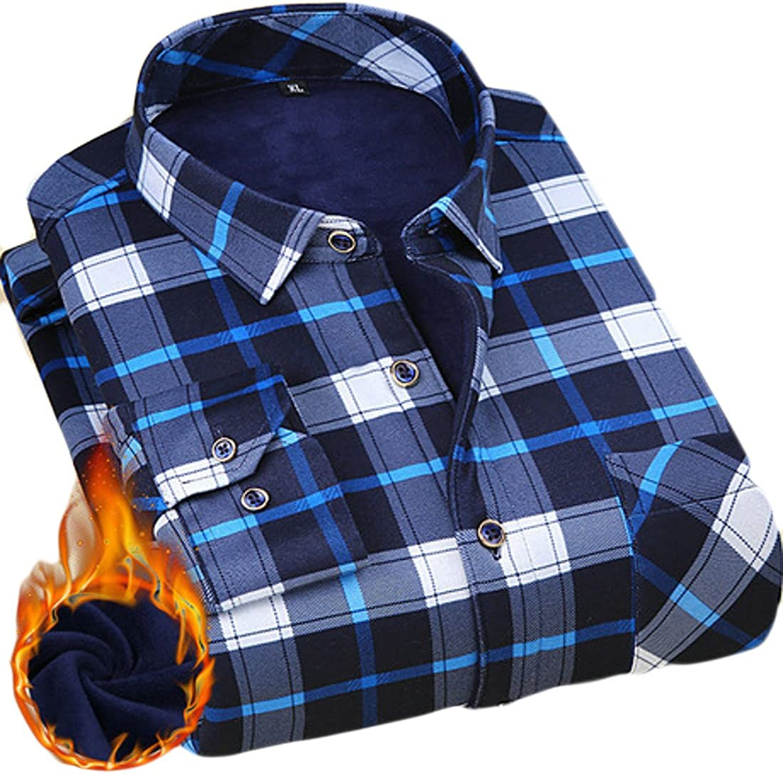 YUELANDE-Men Winter Fall Print Long Sleeve Fleece Lined Button Front Shirt