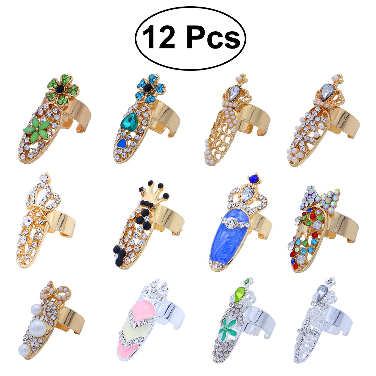 frcolor Nail Ringe, Crystal Bowknot Crown Flower Nail Art Charms Ringe-Spitze Nagel, 12Teile 12Teile