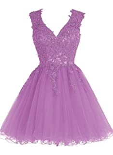 JAEDEN Homecoming Dress Short Cocktail Dress Lace Homecoming Dresses Tulle Appliques Prom Dress V Neck