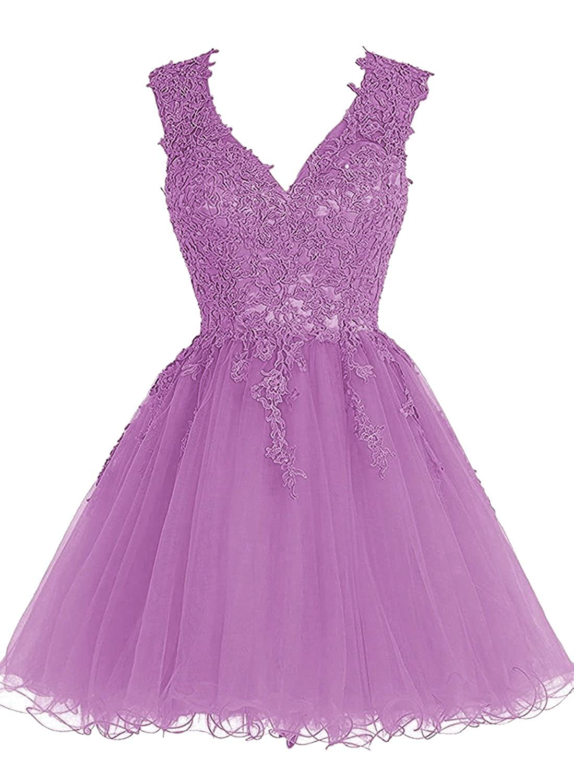 Babyonline Lace Tulle Prom Dresses Short V Neck Bridesmaid ...