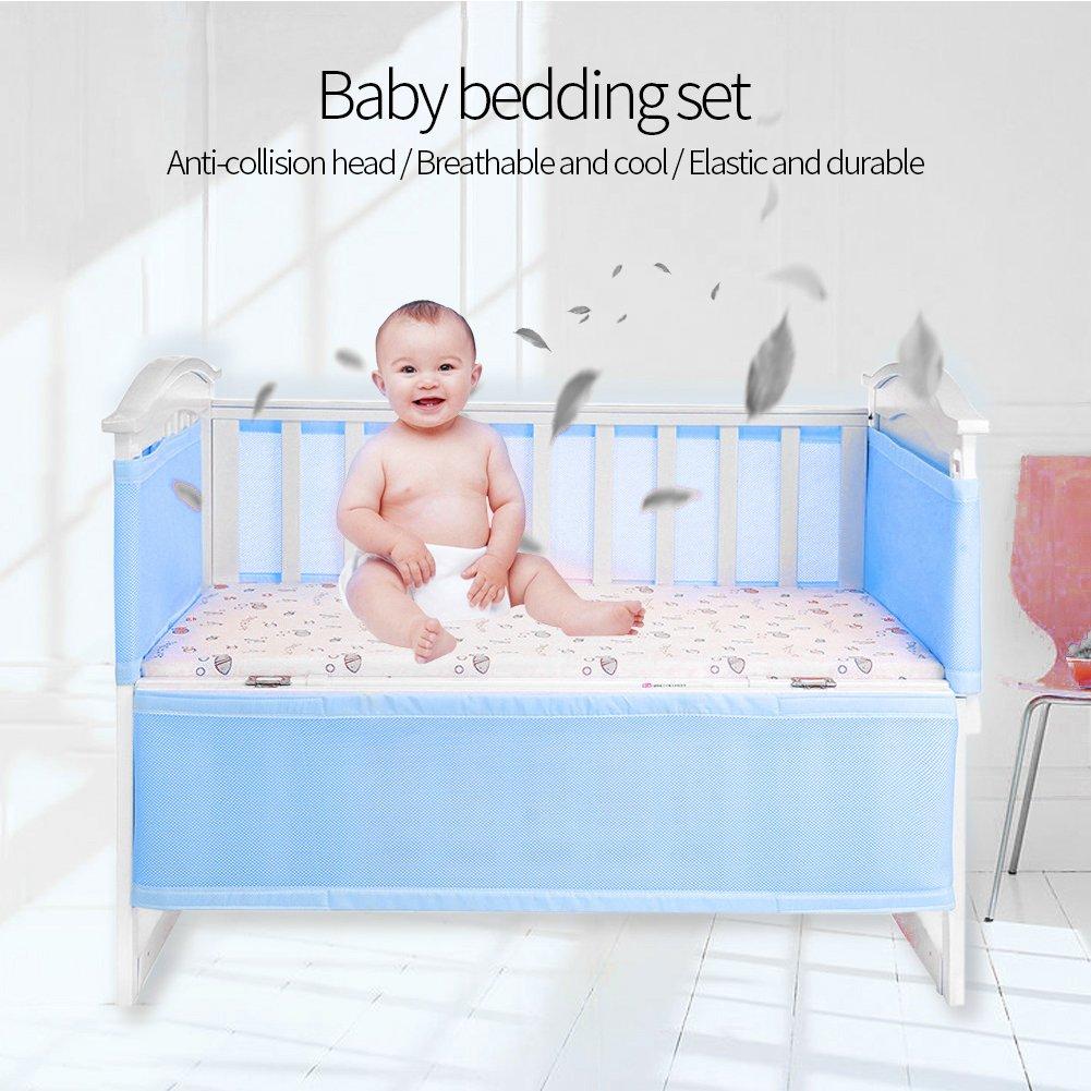 pink Baby Cot Bed Set Breathable Mesh Crib Liner Safety Panel Bumper kindergarten Bedding