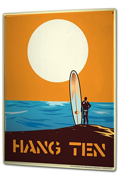 Cartel Letrero de Chapa XXL Retro Deco Surfer tabla de surf mar sol Hang Ten