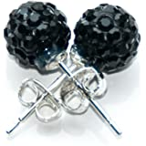 Busy Bead Pair of Shamballa Stud Earrings With Black Crystal Rhinestone Clay Disco Ball 8mm