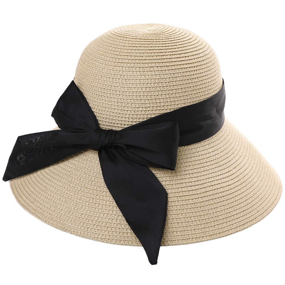 03a3bf392 Packable UPF Straw Sunhat Women Summer Beach Wide Brim Fedora Travel Hat  Bowknot