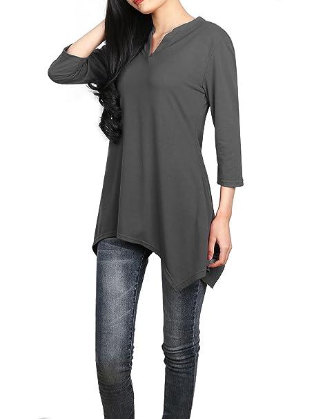 Cuello en V Mujer,DSUK Hembra V Cuello Acampanado Hankerchief Dobladillo Moda Diseño Fresco Liso
