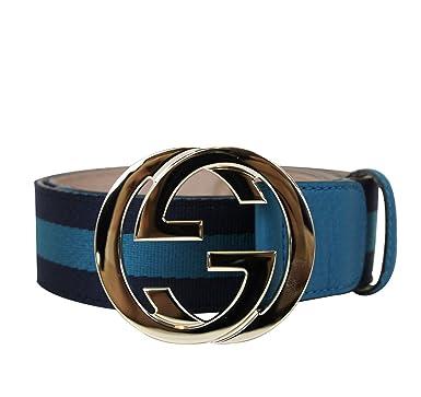 0a644dc04 Gucci Women's Blue Webbing Interlocking G Buckle Belt 114876 4174 (85 ...