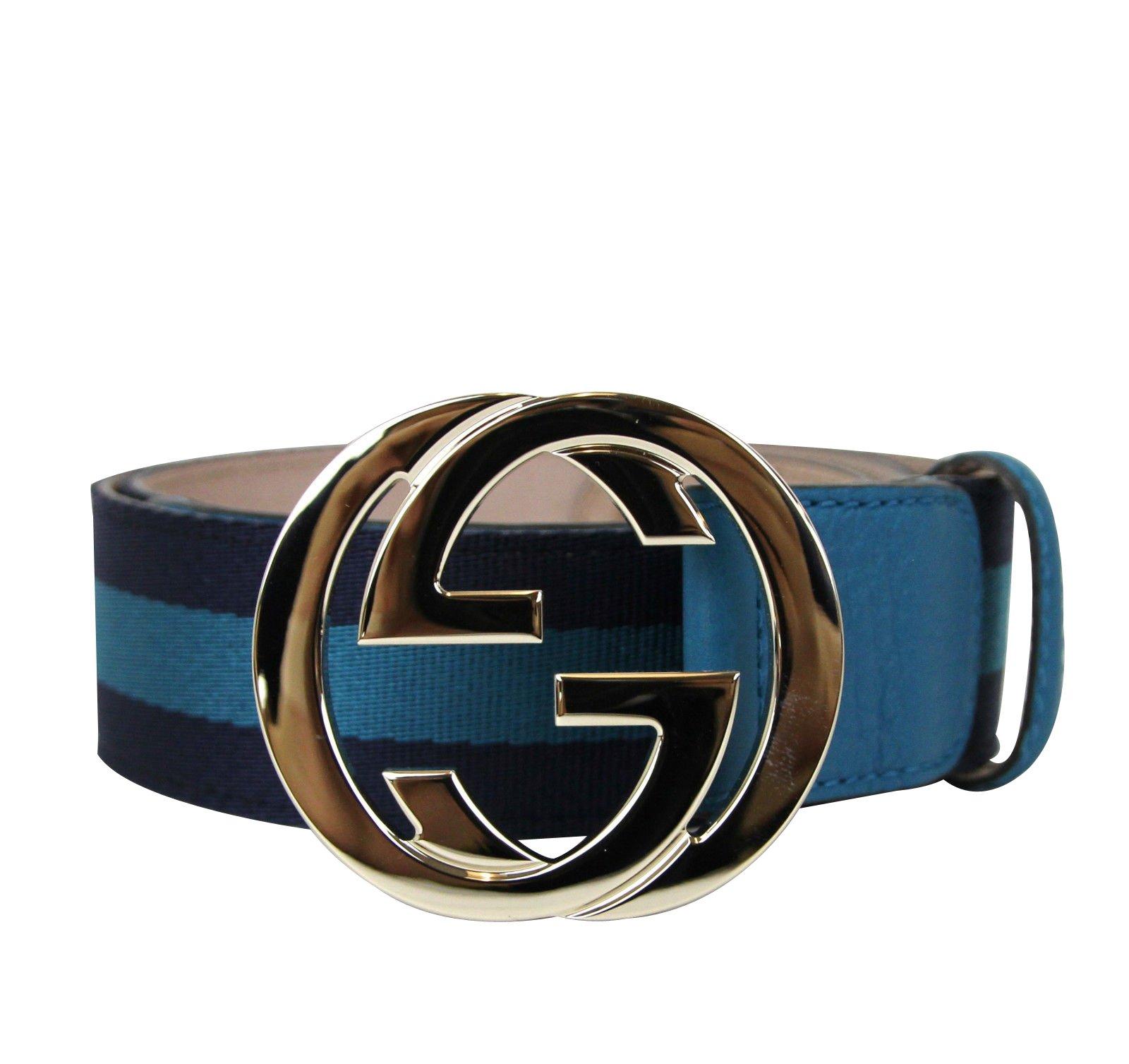 Gucci Women's Blue Webbing Interlocking G Buckle Belt 114876 4174 (85 / 34)