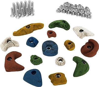 ALPIDEX 15 presas de Escalada Set de iniciación - Tornillos y Tuercas de inserción Inclusive