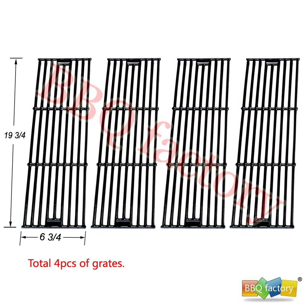 bbq factory® Replacement Porcelain coated Cast Iron Cooking Grid Set (4-pack) Select Gas Grill Models By Chargriller, King Griller and Others JGX051-4