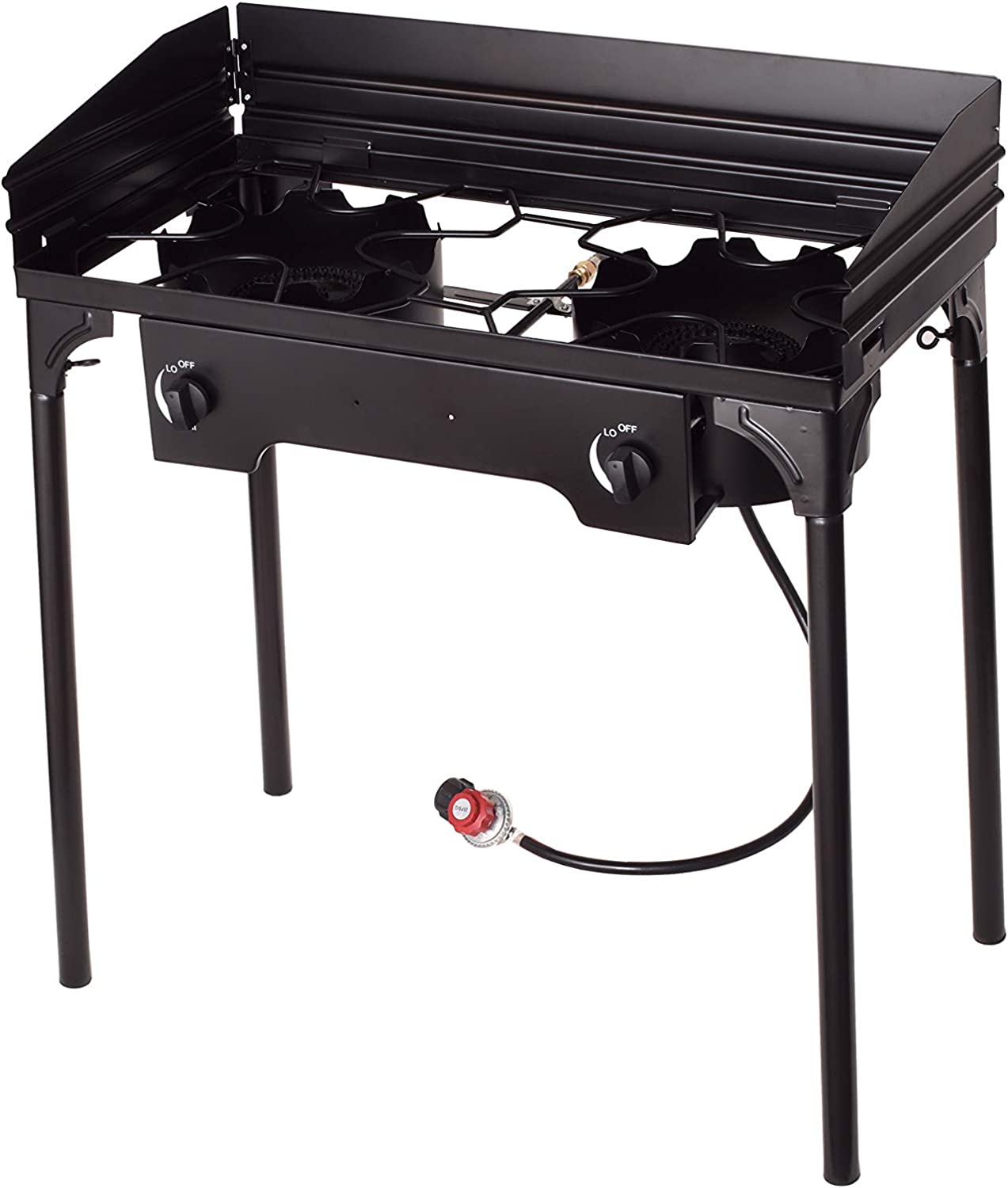 Flame King Outdoor Propane Double Dual Burner Stove Camp Cooker/Fryer Portable with Stand Great for Backyard Cooking, Home Brewing, Canning