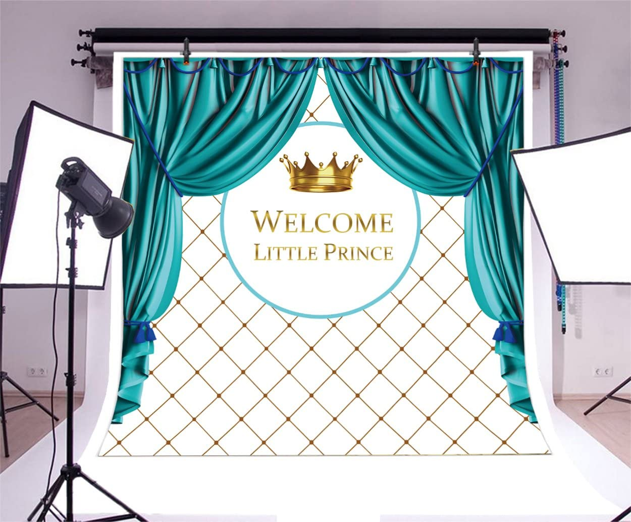 Art Studio 7x5FT Royal Prince Photography Backdrops Crown Photo Background Studio Props Baby Shower Child Birthday Party Decor Welcome Little Boy Photo Booth Vinyl