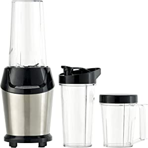 Q2 Deluxe Electric Personal Blender with 3 Bonus Travel Cups – High Speed 23,000 RPM Motor, 800 Watt, 24 Oz Capacity, Stainless Steel Finish, Steel Blades, Auto Blend & Pulse Functions, Great for Smoothies, Shakes & Juices