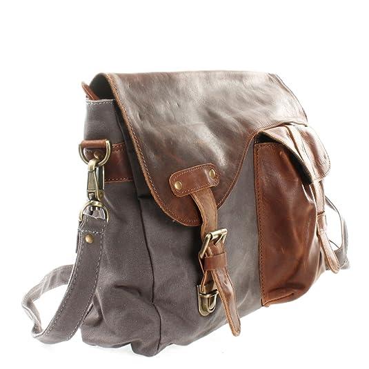 608714db6ebb7 LECONI Messenger Bag DIN A4 Leder Canvas Damen   Herren Schultasche Retro  look Collegetasche Umhängetasche 38x28x12cm braun grau LE3032-C  Amazon.de   Schuhe ...