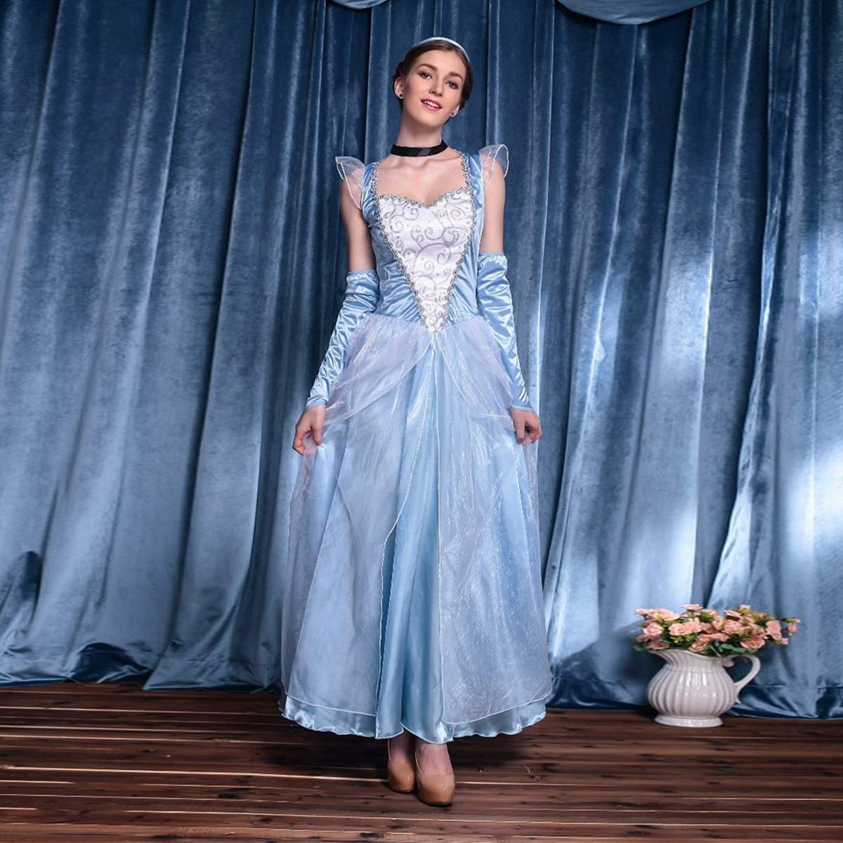 OwlFay Donna Vestito da Cenerentola Elsa Carnevale Costume per Halloween Festa Cosplay Fancy Dress Up Vestiti S-2XL